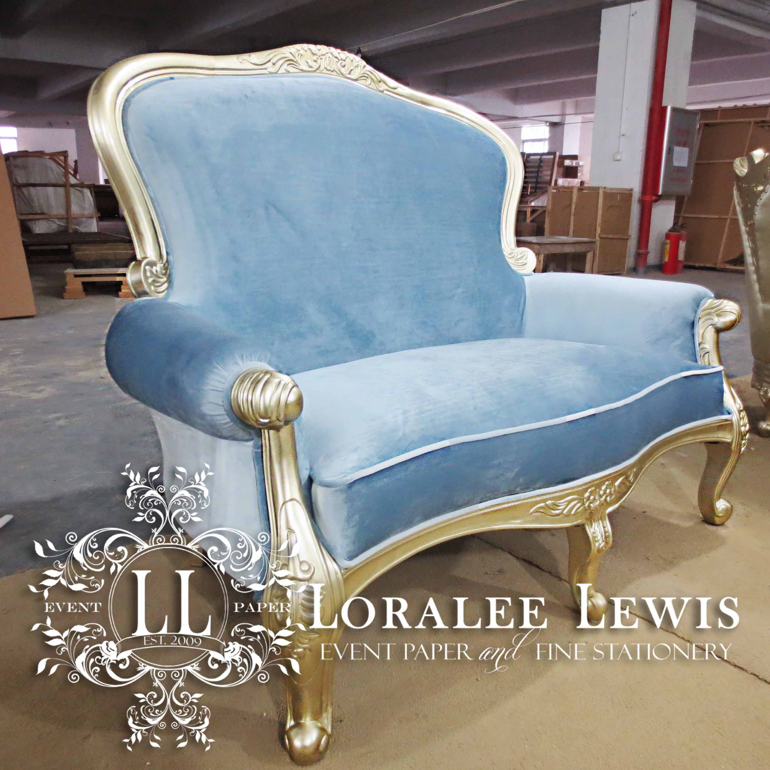 Loralee Lewis Two Seat Sofa in Velvet Blue