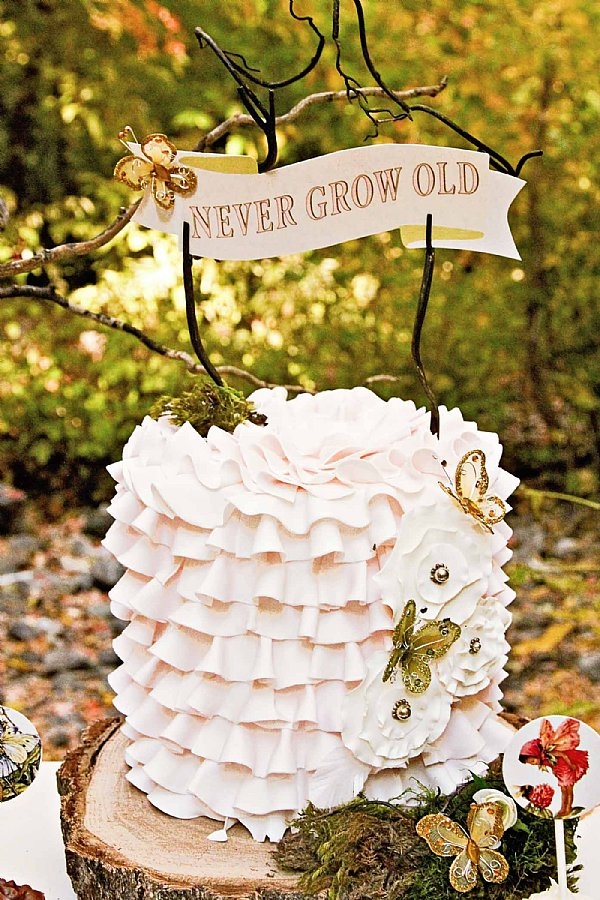 Pixie Fairy 9 Never Grow Up Scroll Cake Banner