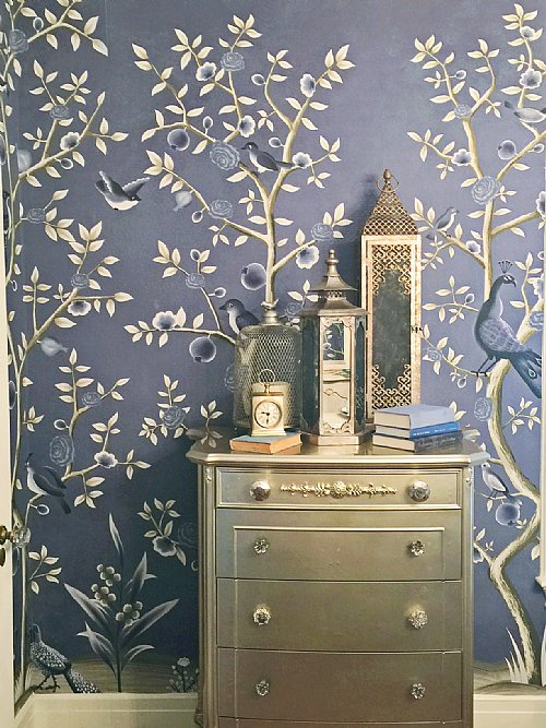 Birds of happiness chinoiserie mural wallpaper for Bird mural wallpaper