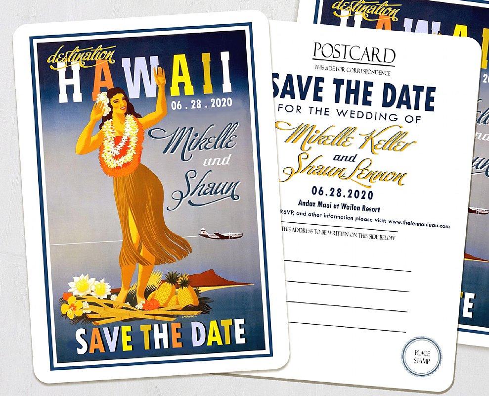 Hawaii Island Save The Date Postcards