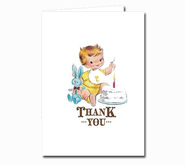 Vintage First Birthday Thank You Notes