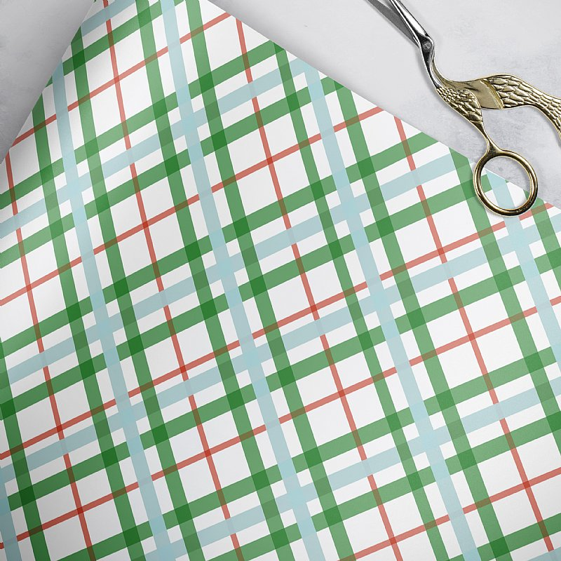 Magical Unicorn Coordinating Plaid Christmas Gift Wrap