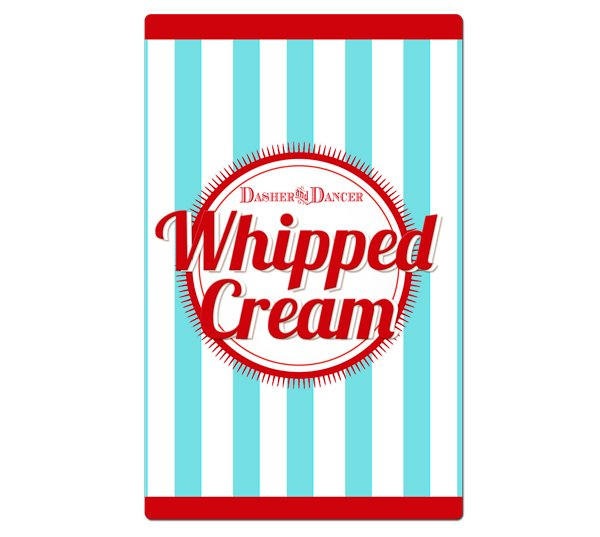 Whipped cream labels in the reindeer games collection blue